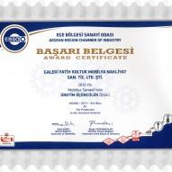 EBSO 2014-Mobilya Sanayii'nde Üretim Üçüncülük Ödülü